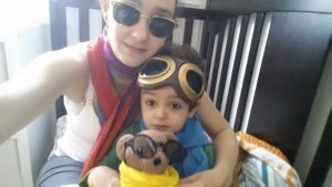 Make-believe Time with Mommy. We are aviators.